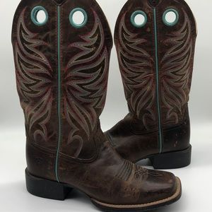 Ariat Round Up Ryder Sassy Brown Wester Boots 8.5B